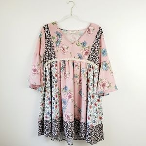New Umgee Patchwork Floral Flare Sleeve Dress